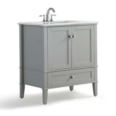 Chelsea 30 in. W x 21.5 in. D x 34.7 in. H Bath Vanity in Grey with Quartz Marble Vanity Top in White with White Basin