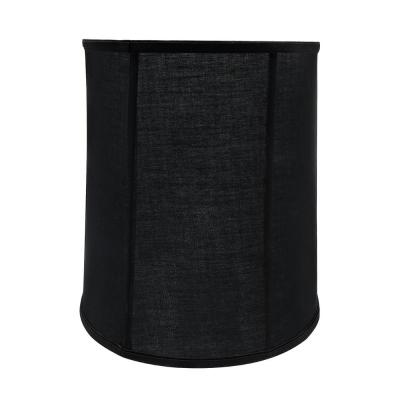 14 in. x 15 in. Black and Vertical Piping Drum/Cylinder Lamp Shade