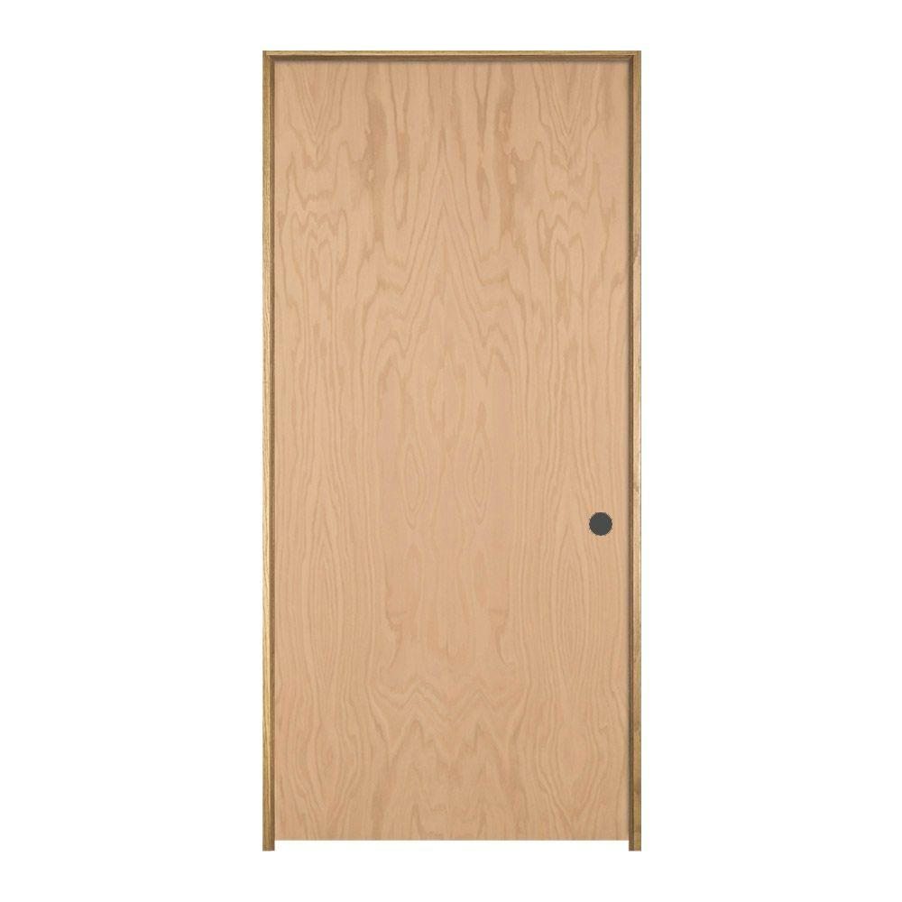 Jeld wen 32 in x 80 in oak unfinished left hand flush - Home depot interior door installation cost ...