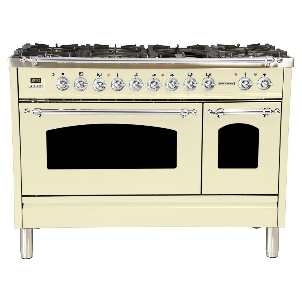 48 in. 5.0 cu. ft. Double Oven Dual Fuel Italian Range True Convection,7 Burners,Griddle,LPGas,Chrome Trim/Antique White