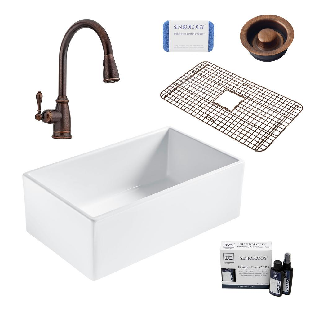 SINKOLOGY Bradstreet II All-in-One Farmhouse Fireclay 30 in. Single Bowl Kitchen Sink with Rustic Bronze Faucet and Disposal Drain