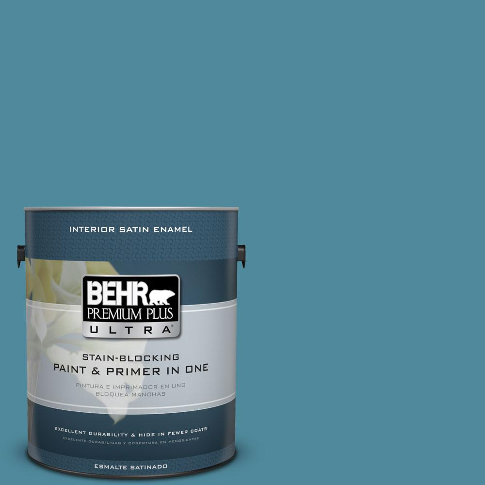 BEHR Premium Plus Ultra 1-gal. #S460-5 Blue Square Satin Enamel Interior Paint