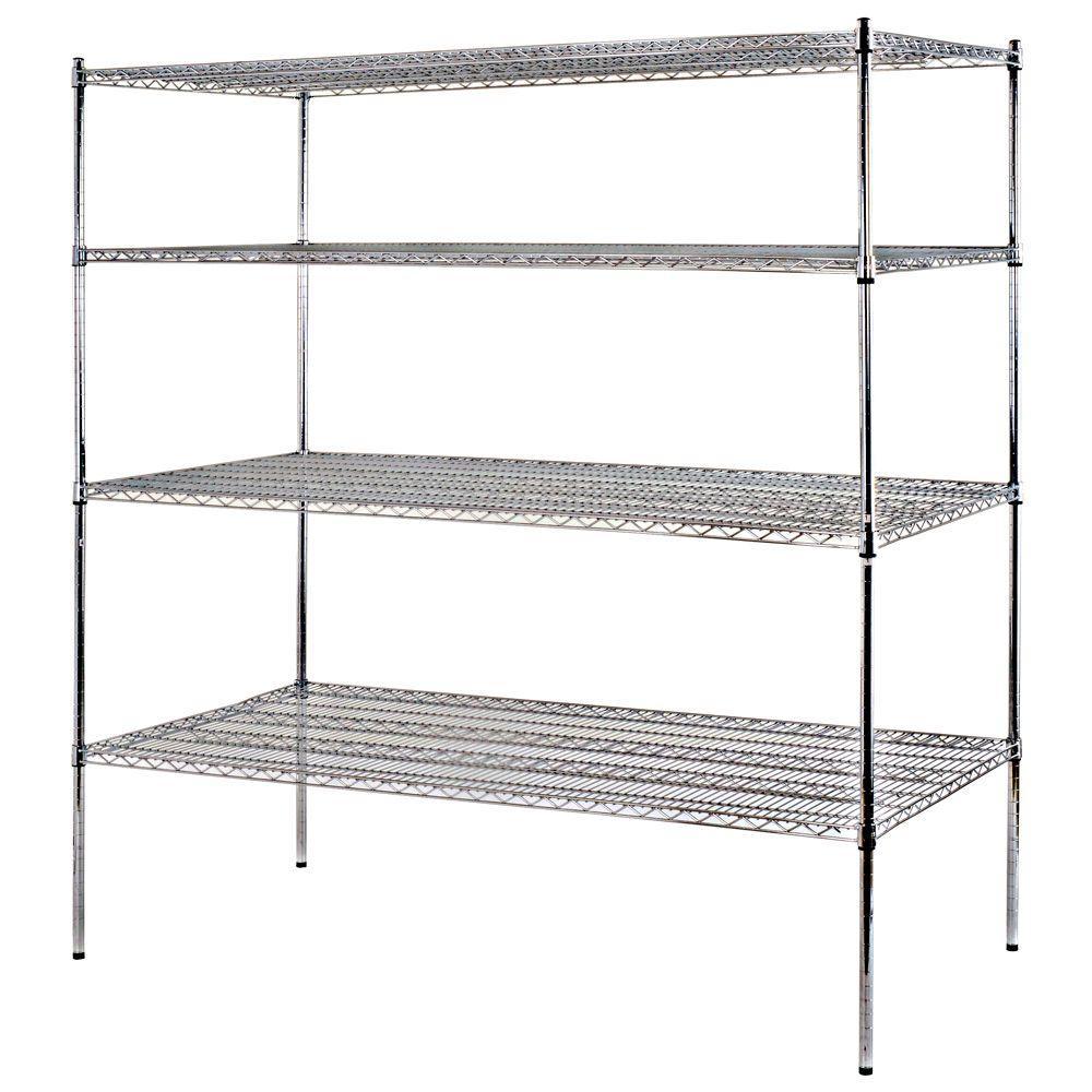 Sandusky Chrome 4-Tier Heavy Duty Steel Garage Storage Shelving - Sale: $146.17 USD (50% off)
