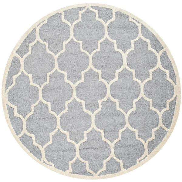 Safavieh Cambridge Silver Ivory 4 Ft X 4 Ft Round Area Rug Cam134d 4r The Home Depot