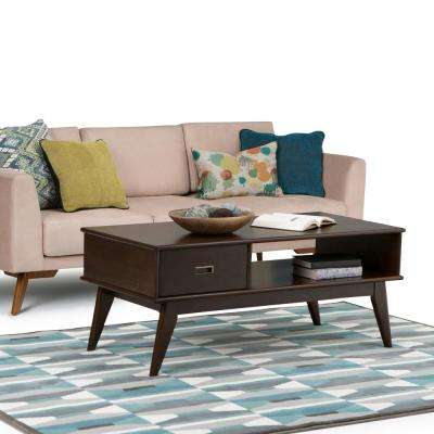 Draper Mid Century Medium Auburn Brown Built-In Storage Coffee Table