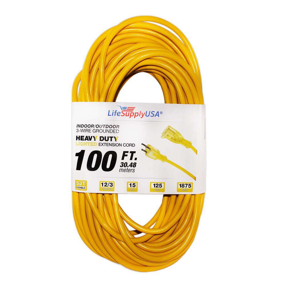 12/3 100 ft. SJT 15 Amp, 125-Volt 1875-Watt Lighted End Indoor/Outdoor Heavy-Duty Extension Cord (5-Pack)
