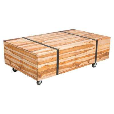 River Wood Outdoor Patio Coffee Table In Natural Teak