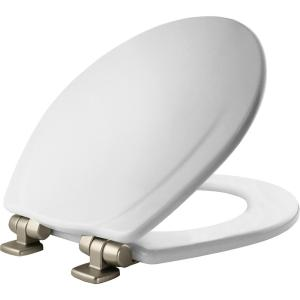 Mayfair Slow Close Round Closed Front Toilet Seat in White by Mayfair