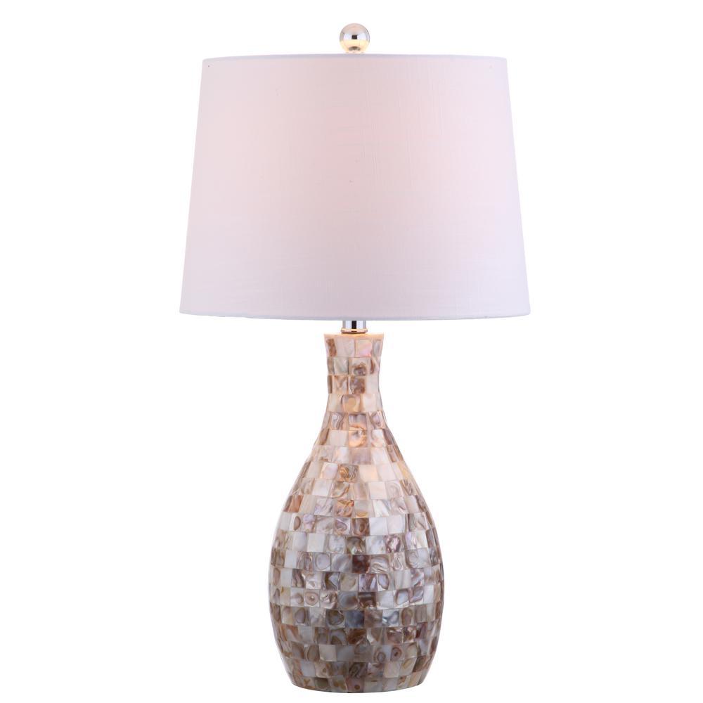 Verna 26.5 in. Ivory/Beige Seashell Table Lamp