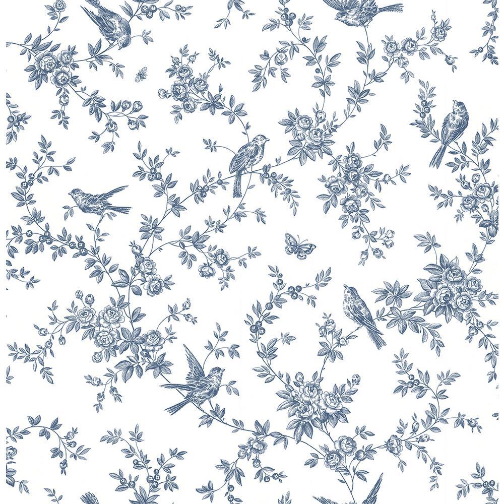 Brewster 8 in. x 10 in. Cassandra Navy Floral Trails Wallpaper