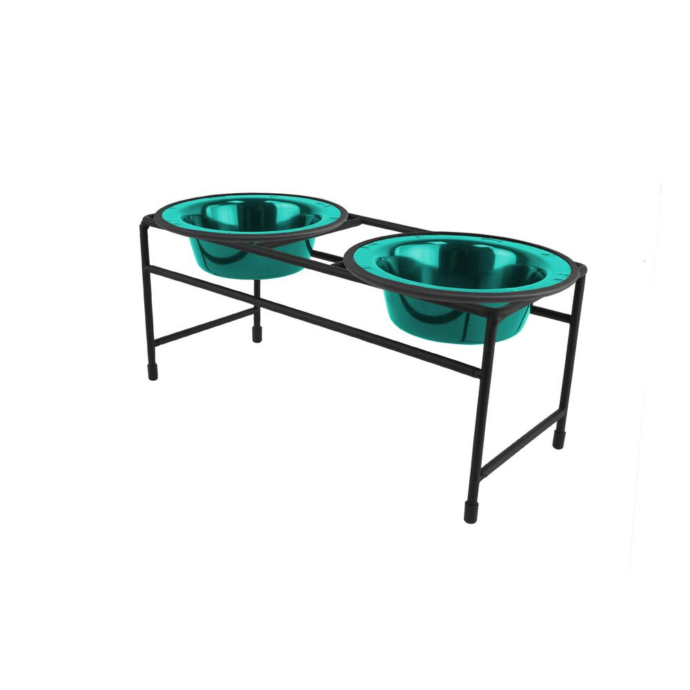 .75 Cup Modern Double Diner Feeder with Cat/Puppy Bowls, Caribbean Teal