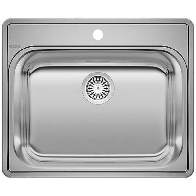 Essential 22 in. x 12 in. Drop-In Stainless Steel 1-Hole Single Bowl Kitchen Sink in Brushed Satin