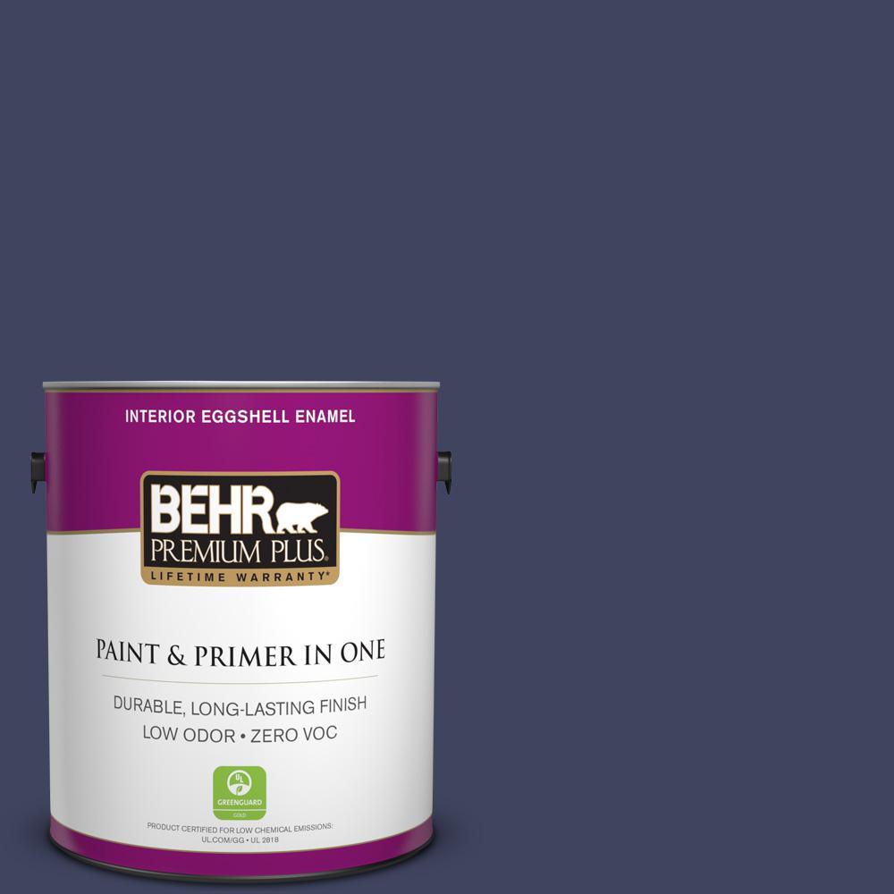 BEHR Premium Plus 1-gal. #PMD-92 Darkest Navy Zero VOC Eggshell Enamel Interior Paint