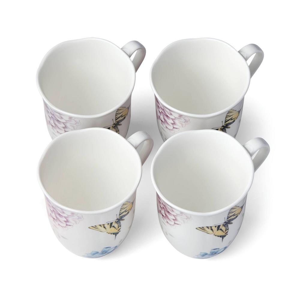 Butterfly Meadow Hydrangea 12 oz. Porcelain Multi Color Coffee/Tea Mugs (Set of 4)