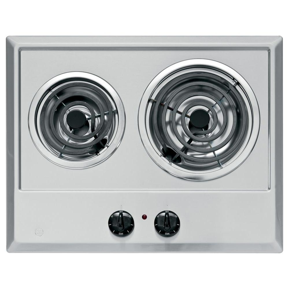 GE 21 in. Coil Electric Cooktop in Stainless Steel with 2 Elements