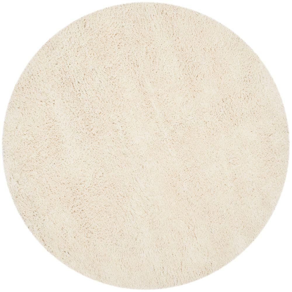 Classic Shag White 6 ft. x 6 ft. Round Area Rug