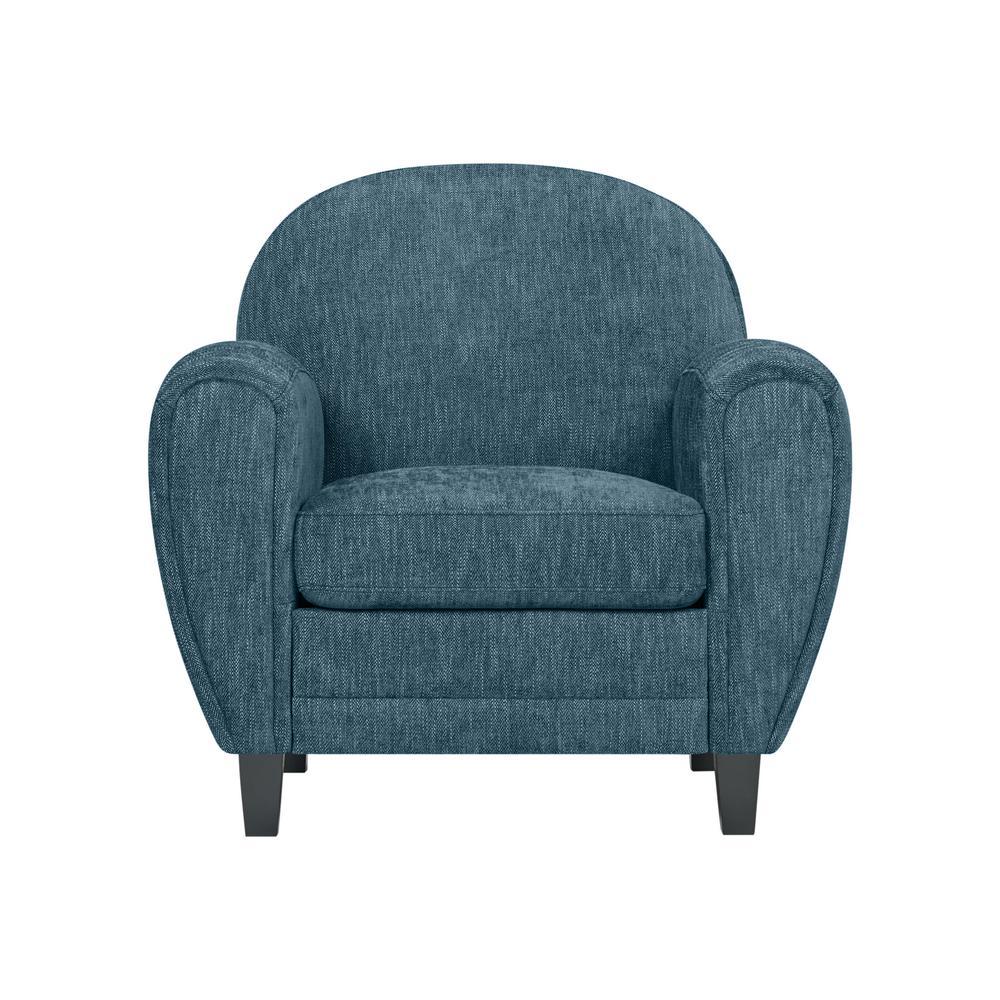 Valencia Modern Club Chair in Caribbean Blue Herringbone