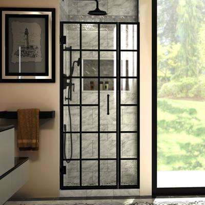 Unidoor Toulon 34 in. to 34-1/2 in. W x 72 in. H Frameless Hinged Shower Door in Satin Black