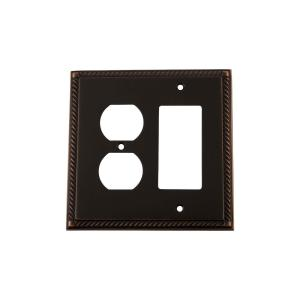 Nostalgic Warehouse Rope Switch Plate with Rocker and Outlet in Timeless Bronze by Nostalgic Warehouse