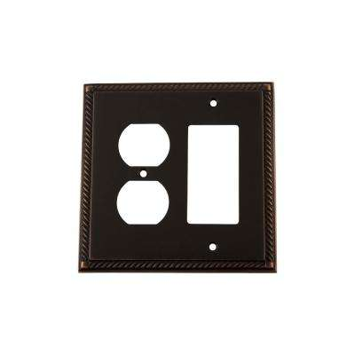 Rope Switch Plate With Rocker And Outlet In Timeless Bronze