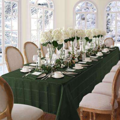 60 in. W x 84 in. L OvaL Holly Green Elrene Elegance Plaid Damask Fabric Tablecloth