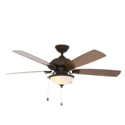 North Lake 52 in. Indoor/Outdoor Oil Rubbed Bronze Ceiling Fan with Light Kit