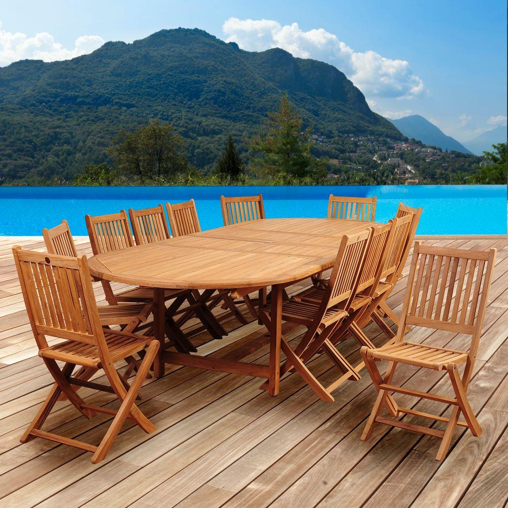Amazonia Abbot 13 Piece Teak Double Extendable Oval Patio Dining Set