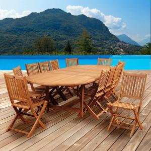 Amazonia Abbot 13-Piece Teak Double Extendable Oval Patio Dining Set by Amazonia