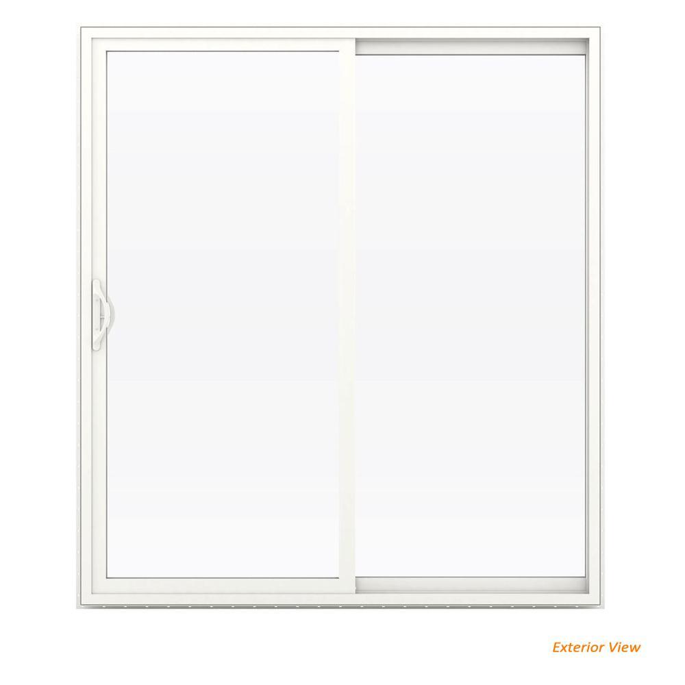 72 in. x 80 in. V-2500 White Vinyl Right-Hand Full Lite Sliding Patio Door w/White Interior