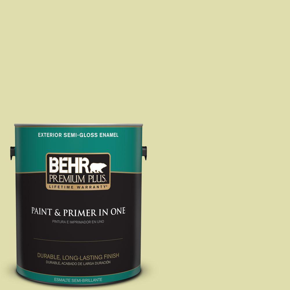BEHR Premium Plus 1-gal. #P360-3 Tonic Semi-Gloss Enamel Exterior Paint, Greens