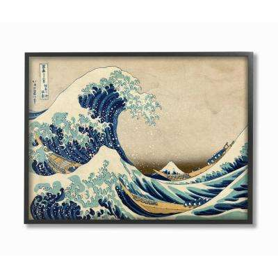 """16 in. x 20 in. """"Eastern Illustration Waves"""" by Piddix Printed Framed Wall Art"""