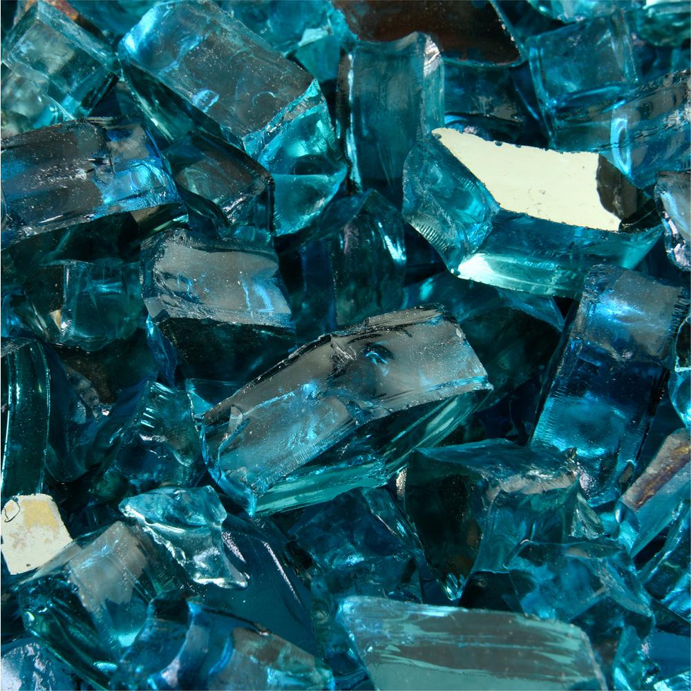 Fire Pit Essentials 10 lbs. of Tahitian Blue 1/2 in. Reflective Fire Glass