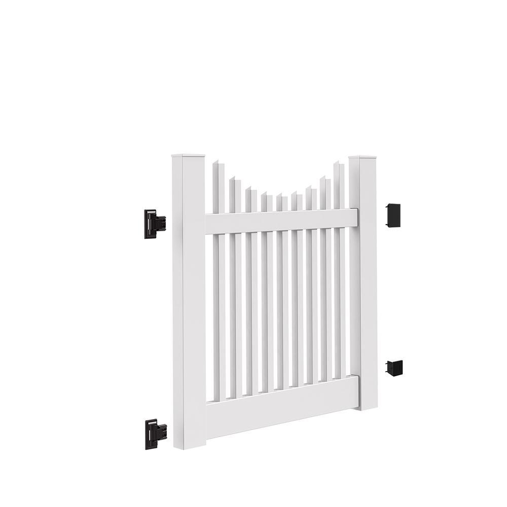 Yukon Scallop 4 ft. W x 4 ft. H White Vinyl Un-Assembled Fence Gate