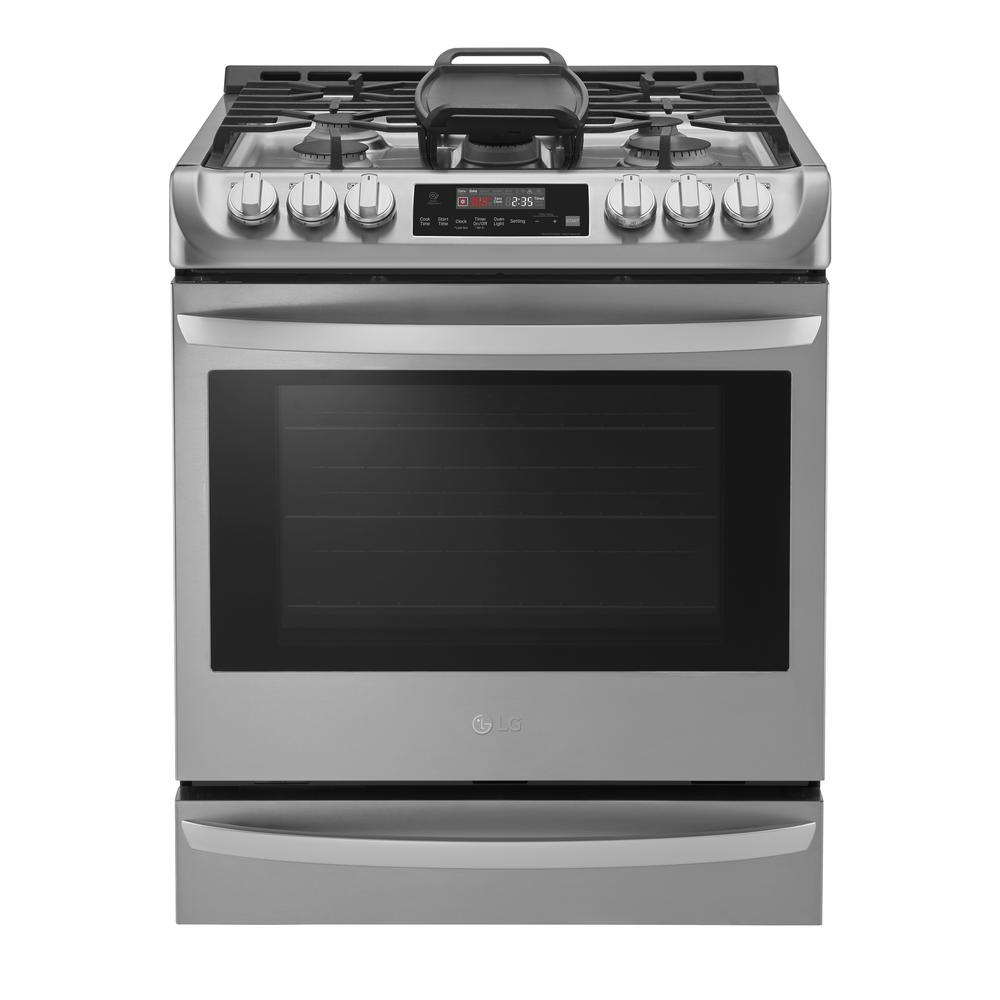 LGElectronics LG Electronics 30 in. Smart Slide-in Gas Cooktop in Stainless Steel with 5 Burners, ProBake Convection and Wi-Fi enabled, Silver