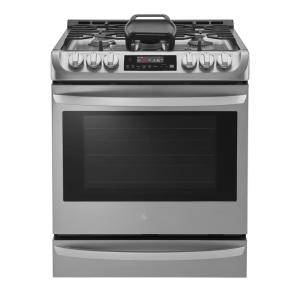 30 in. Smart Slide-in Gas Cooktop in Stainless Steel with 5 Burners, ProBake Convection and Wi-Fi enabled