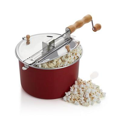 Aluminum Stovetop Popcorn Popper Maker with Removable Lid in Red