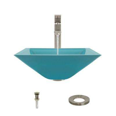 Glass Vessel Sink in Turquoise with 721 Faucet and Pop-Up Drain in Brushed Nickel