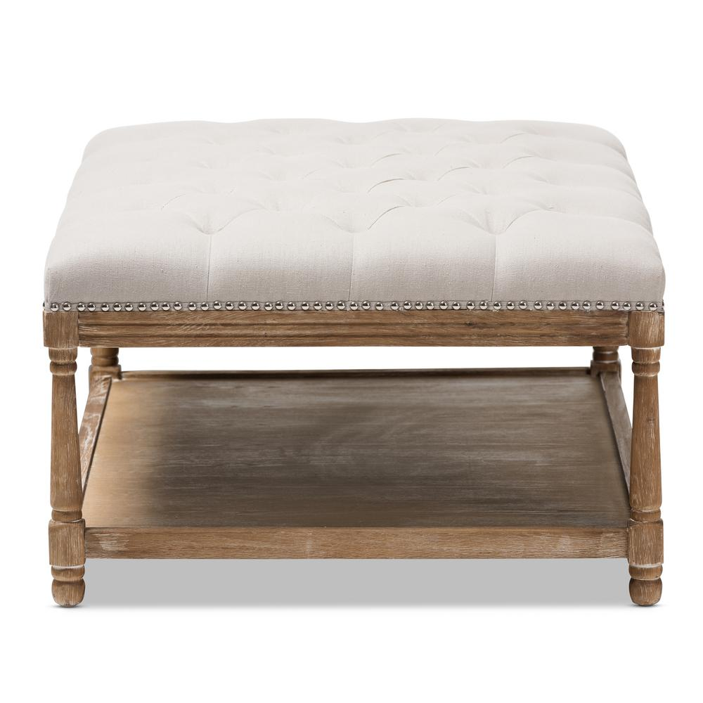 Baxton Studio Carlotta Beige Coffee Table Ottoman
