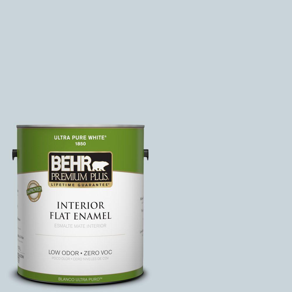 BEHR Premium Plus 1-gal. #PPL-73 Tranquil Sea Zero VOC Flat Enamel Interior Paint-DISCONTINUED
