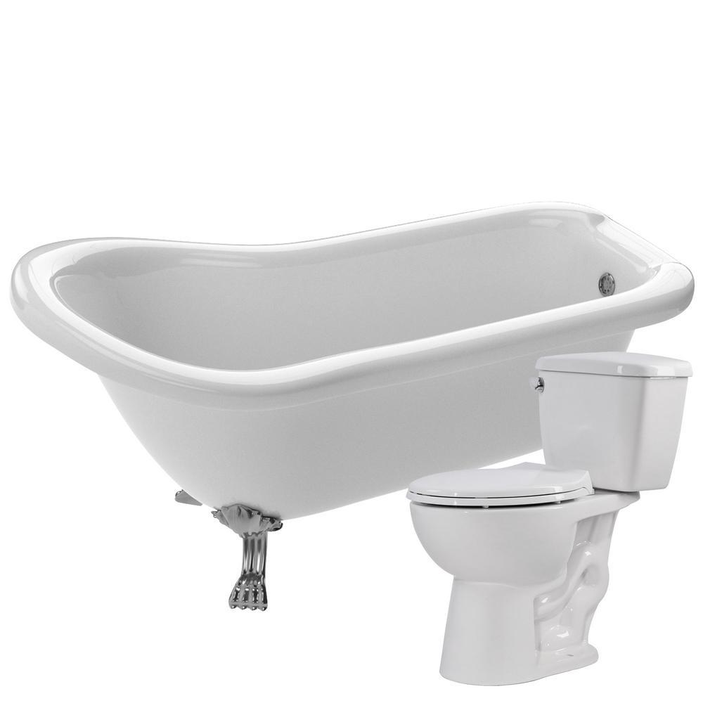 ANZZI Pegasus 66.93 in. Acrylic Clawfoot Non-Whirlpool Bathtub in ...