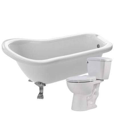 Pegasus 66.93 in. Acrylic Clawfoot Non-Whirlpool Bathtub in White with Cavalier 2-Piece 1.28 GPF Single Flush Toilet
