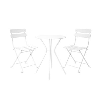 3-Piece Steel Outdoor Patio Bistro Set in White
