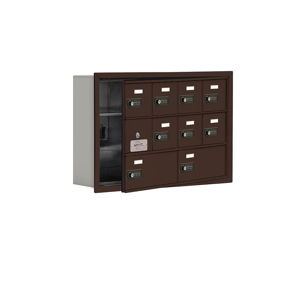 19100 Series 29.25 in. W x 18.75 in. H x 5.75 in. D 9 Doors Cell Phone Locker R-Mount Resettable Locks in Bronze