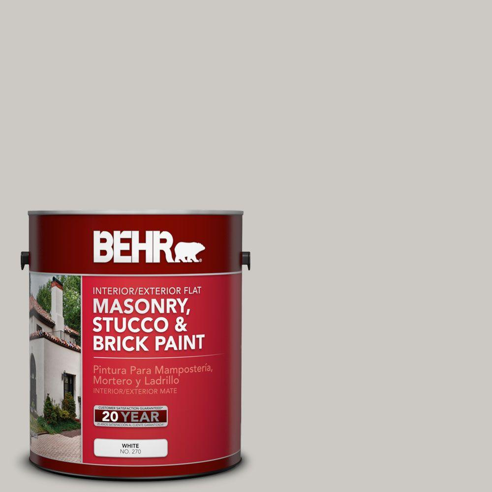 Behr Premium 1 Gal Ms 79 Silver Gray Pebble Flat Interior Exterior Masonry Stucco And Brick