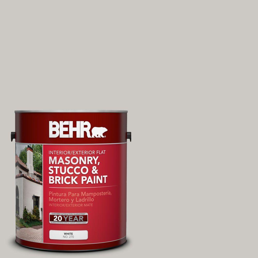 1-gal. #MS-79 Silver Gray Pebble Flat Interior/Exterior Masonry, Stucco and Brick Paint