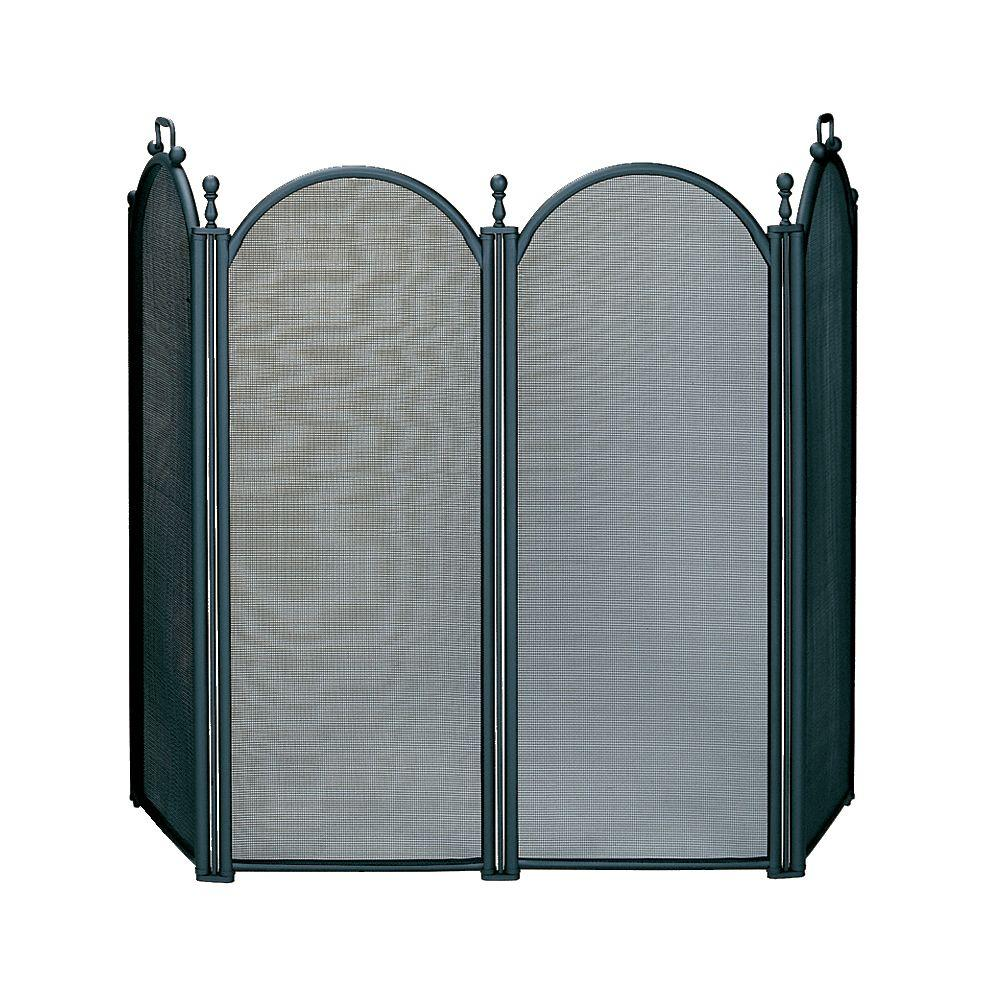 UniFlame Black Large Diameter 4-Panel Fireplace Screen with Woven Mesh