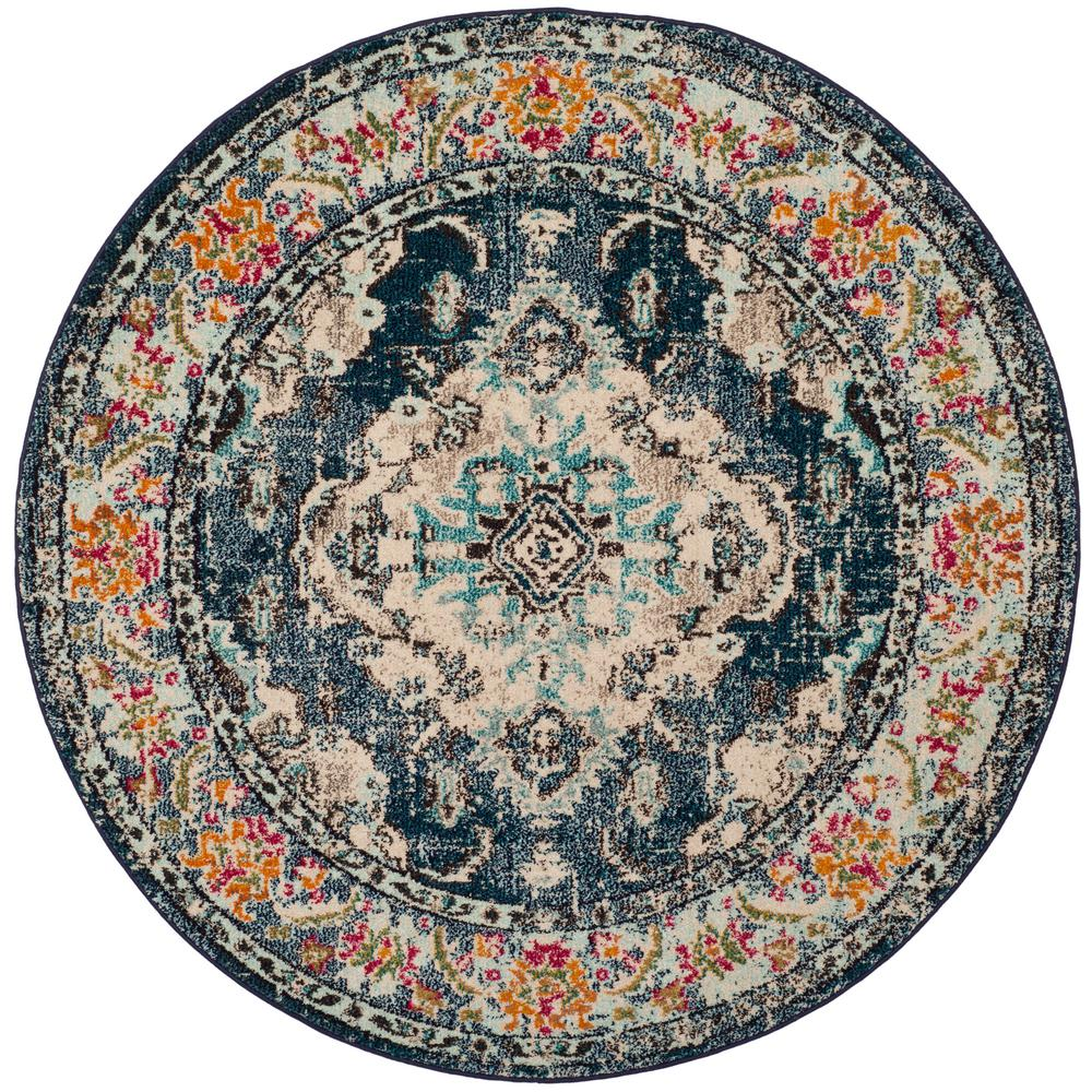Safavieh Monaco Navy Light Blue 5 Ft X 5 Ft Round Area