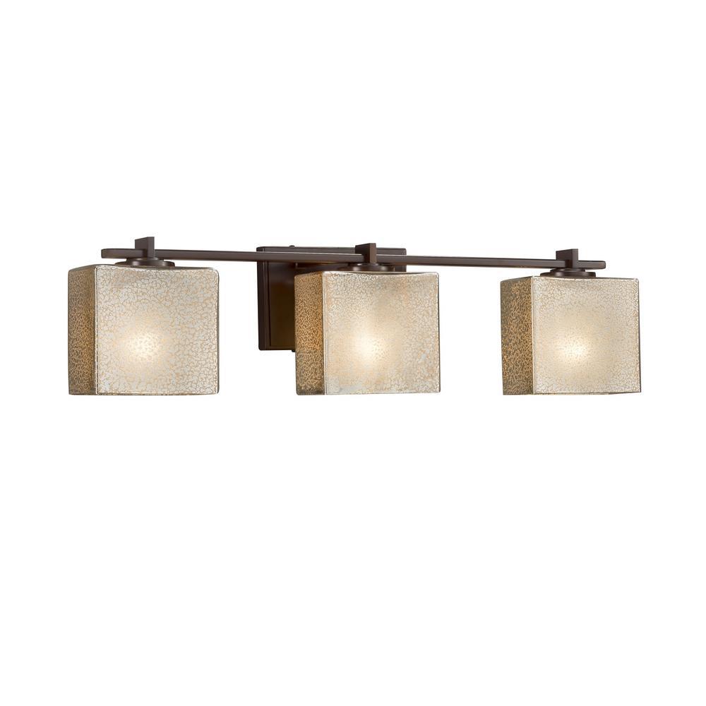 Fusion Era 3-Light Dark Bronze Bath Light with Mercury Glass Shade