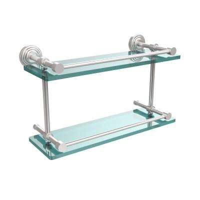 Waverly Place 16 in. L x 8 in. H x 5 in. W 2-Tier Clear Glass Bathroom Shelf with Gallery Rail in Satin Chrome
