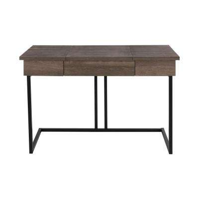 StyleWell Dark Oak Finish Wood Writing Desk with Lift Top and Metal Frame (47.6 in. W x 30 in. H)